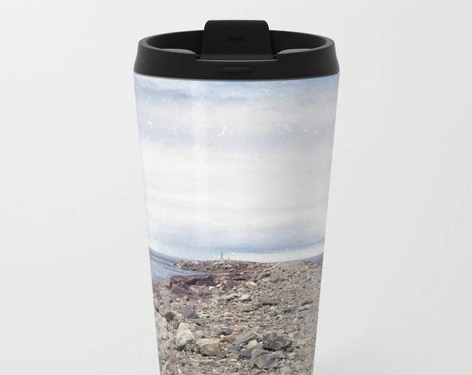 Travel Mug Metal - Rockaway Beach Oregon - Beach Theme Coffee Travel Mug -  Hot or Cold - 20 oz Mug - Stainless Steel - Made to Order