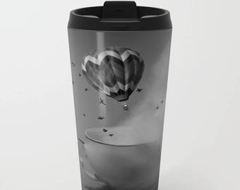 Travel Mug Metal - Hot Air Balloon - Tea Cup - Fantasy - Coffee Travel Mug -  Hot or Cold - 15 oz Mug - Stainless Steel - Made to Order
