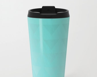 Cyan Travel Mug Metal - Coffee Travel Mug -  Hot or Cold - 15oz Mug - Stainless Steel - Made to Order