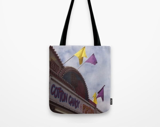 Carnival Tote Bag - Cotton Candy Stand - Childs Tote Bag - Beach Bag - Grocery Bag - Original Art Tote - Made to Order