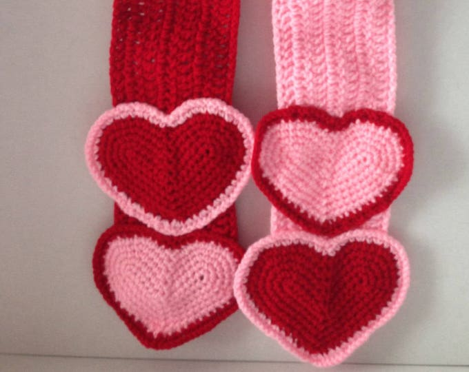 Heart Scarf - Valentines Day Scarf - Fun Pink and Red Scarf - Pink hearts - Red Hearts -  Handmade Crochet - Ready to Ship