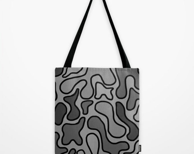 Black Abstract Tote Bag - Book Bag - Grocery Bag - Beach Bag - Black and Gray Tote Bag -  Made to Order