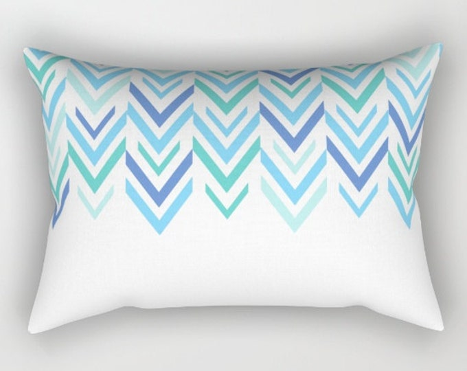 Blue Pillow Cover - Includes Insert - Blue and White Pattern - Rectangular Bed Pillow - Made to Order