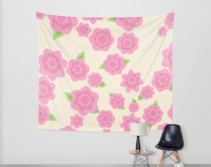 Pink Flower Hanging Tapestry - Wall Tapestry - Pink Flower Art - Large Wall Hanging - Home Decor - Made to Order