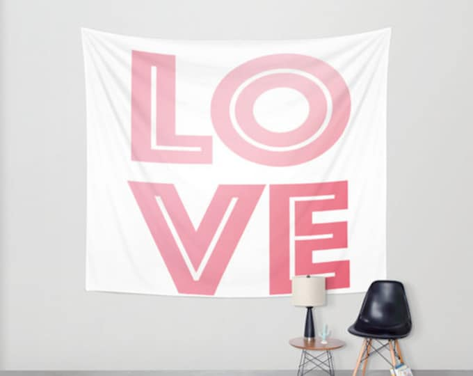 Love Hanging Tapestry - Wall Tapestry - Pink and White - Large Wall Hanging - 3 Sizes Available - Home Decor - Made to Order