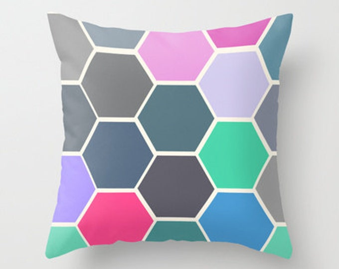 Colorful Throw Pillow Cover Includes Pillow Insert - Hexagon Art -  Sofa Pillow - Decorative Pillow - Throw Pillow - Made to Order