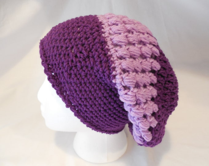 Purple Crochet Slouchy Hat - Crochet - Purple - Handmade - Ready to Ship