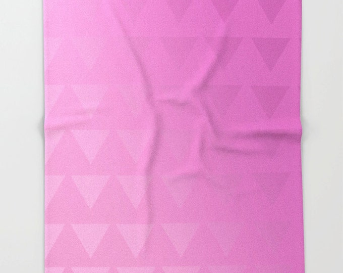 Pink Fleece Throw Blanket - Bedding - Pink Triangle Art  - Ombre Pink - Fleece Throw Blanket - Made to Order