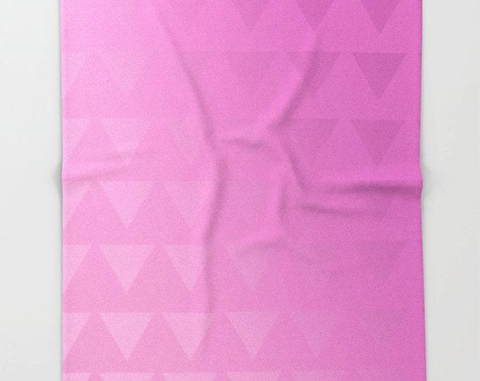 Pink Fleece Throw Blanket - Bedding - Pink Triangle Art  - Ombre Pink - Fleece Throw Blanket - Made to Order