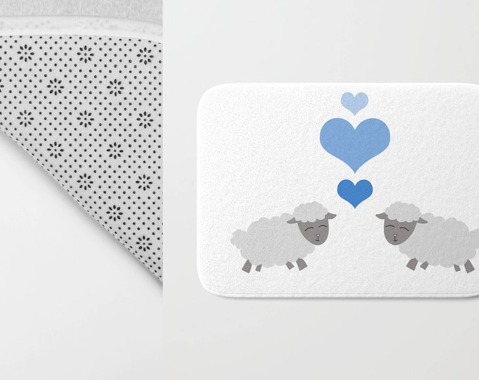 Sheep Bath Mat -  Lamb Shower Mat - Bathroom Mat -  Made to Order