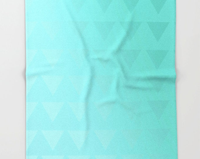 Cyan Fleece Throw Blanket - Bedding - Cyan Ombre - Triangle Art Cyan Fleece Throw Blanket - Blue Green - Made to Order