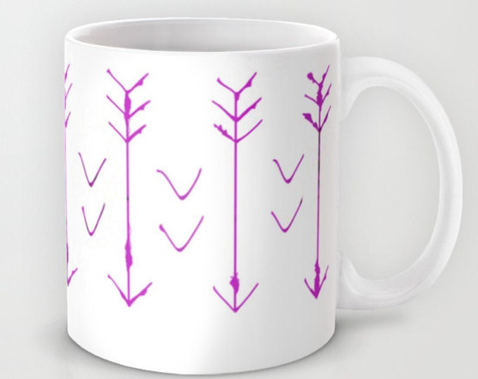 Purple - Pink Coffee Mug  - Purple - Pink Arrows - Coffee Cup - Hand drawn Art - 11oz - 15oz - Ceramic Mug - Made to Order