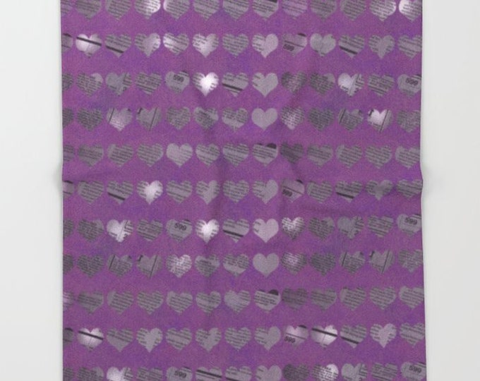Purple Heart Fleece Throw Blanket - Bedding - Newspaper Hearts - Photo Art - Fleece Throw Blanket - Made to Order