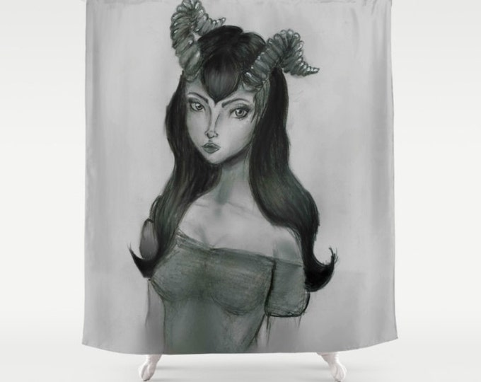 Fantasy Art Shower Curtain - Ewe are so Beautiful - Hand Drawn Art - Bathroom Decor - Made to Order