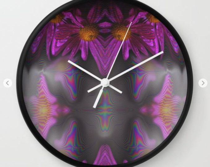 Abstract Purple Flower Clock -  Wall Clock - Made to Order