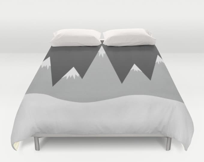 Mountain Peak Bed Cover - Duvet Cover Only - Bed  Spread - Original Art -  3 Sizes - Made to Order