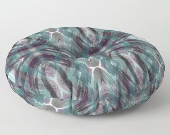Floor Pillows - Teal Blue Multi Color - Abstract - Round or Square Floor Cushion - Decorative Pillow - Made to Order