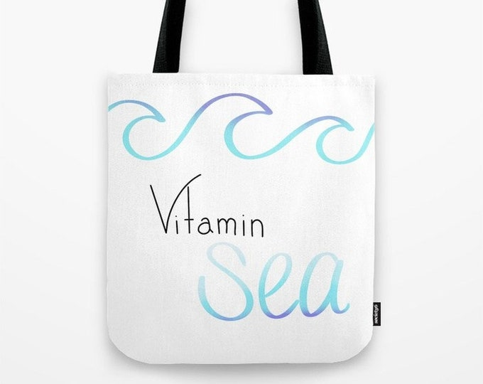 Vitamin Sea Tote Bag - Carry All Tote Bag - Beach Bag - Book Bag - Vitamin Sea Tote Bag - Made to Order