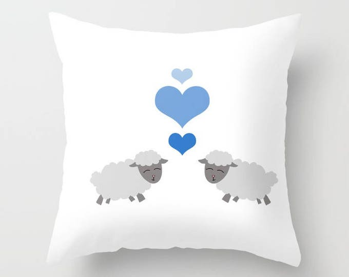 Sheep Throw Pillow Cover Includes Pillow Insert - Lamb with Blue Hearts - Sofa Pillow - Decorative Pillow - Made to Order