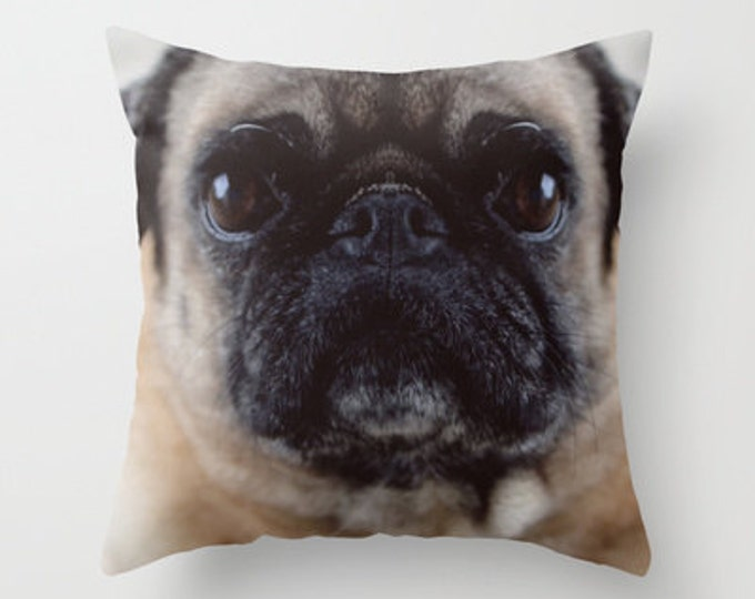 Pug Pillow Cover - Throw Pillow Cover - Includes Pillow Insert - Pug Photo - Sofa Pillow - Home Decor Pillow - Pug Lover - Made to Order