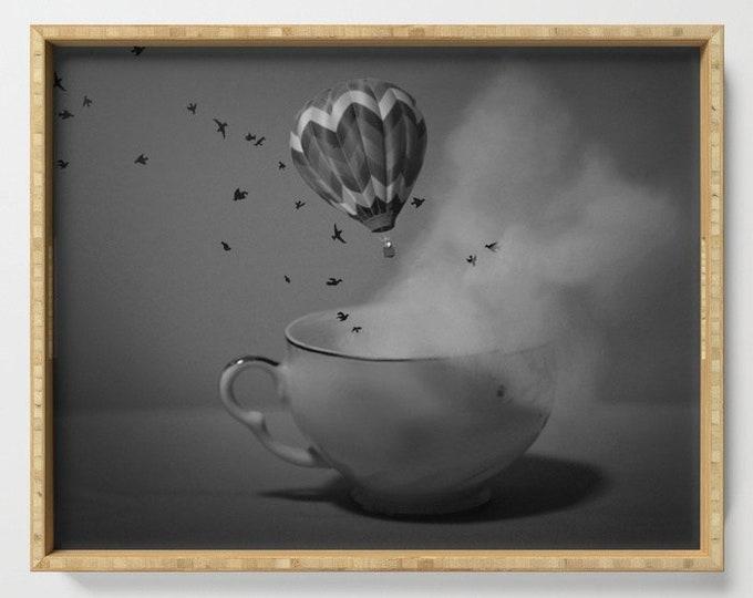 Serving Tray - Tea Cup - Hot Air Balloon - Fantasy Art - Bathroom Organizer - Plant Holder - Made to Order