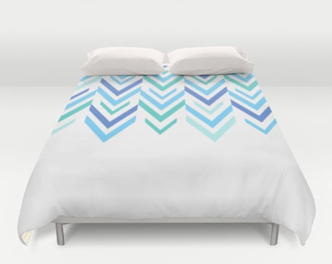 Blue Bed Cover -  Duvet Cover - Bed  Spread -  Duvet Cover Only - Blue and White Arrow Art  - ZigZag Art - Made to Order