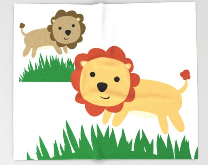 Lion Jungle Fleece Throw Blanket - Bedding - Lion Art - Childs Lion Art - Nursery Art Fleece Throw Blanket - Made to Order