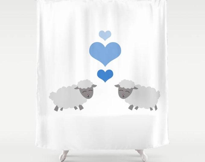 Sheep Shower Curtain - Lamb Shower Curtain - Lamb/Sheep Kisses - Bathroom Decor  - Made to Order