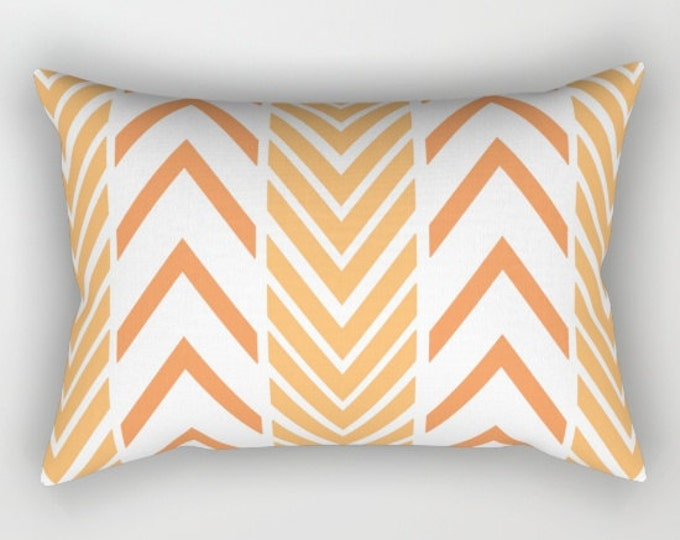 Orange Pillow Cover - Includes Insert - Orange and White - Bed Pillow - Arrow Pattern - Throw Pillow - Made to Order