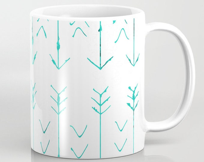 Mug With Large Teal Arrows - Coffee Mug - Ceramic - 11 oz - 15 oz - Made to Order