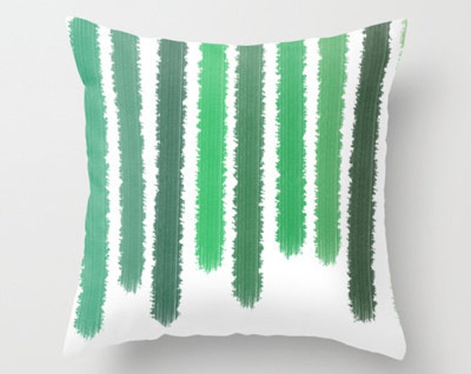 Green Striped Throw Pillow Cover Includes Pillow Insert - Shades of Green - Sofa Pillow - Bed Pillow - Made to Order