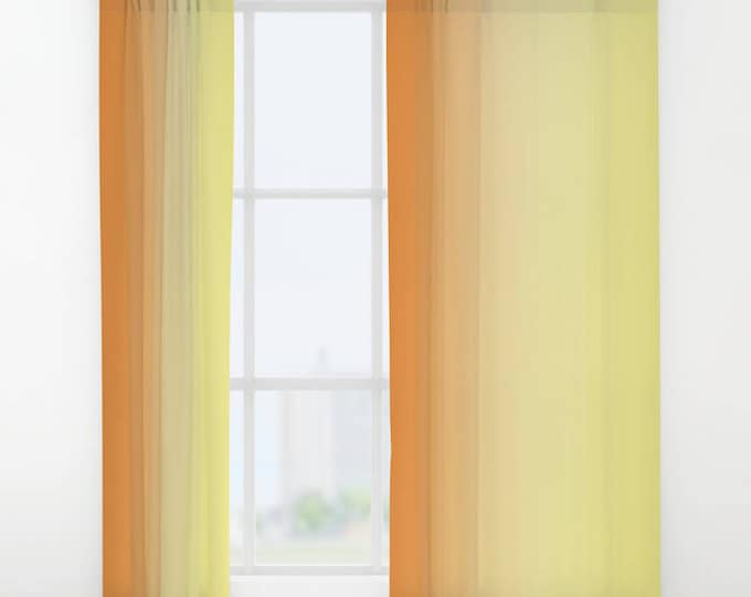Window Curtains - Drapes - Orange to Yellow Ombre - Window Treatments - Made to Order