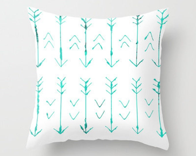 Arrow Pillow Cover Includes Pillow Insert - Pillow Cover - Teal Arrows - Sofa Pillow - Bed Pillow - Arrow Art - Hand Drawn - Made to Order