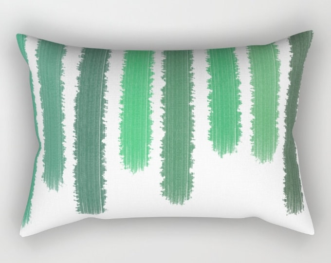 Green Striped Pillow Includes Pillow Insert - Shades of Green - Sofa Pillow - Rectangular Bed Pillow - Throw Pillow - Made to Order