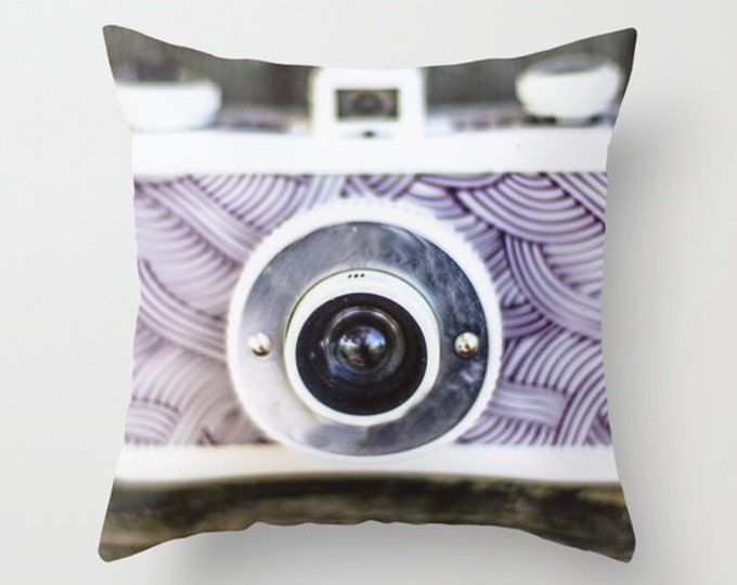 Camera Pillow Cover Includes Pillow Insert - Camera Photo Pillow - Sofa Pillow Cover - Made to Order