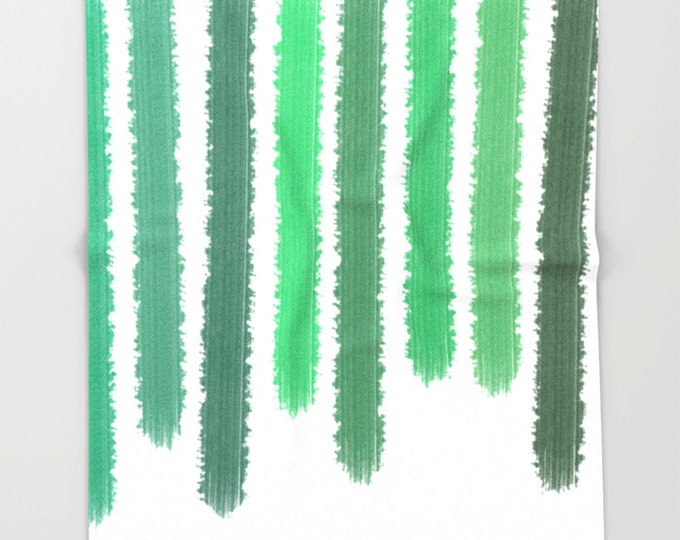 Green and White Soft Fleece Throw Blanket - Striped Bedding - Shades of Green Bedding - Fleece Throw Blanket - Made to Order