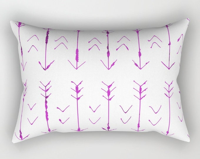 Purple Arrow Pillow Includes Insert - Purple and White - Hand Drawn Arrows - Rectangular Bed Pillow - Decorative Pillow - Made to Order