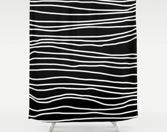 Shower Curtain -Black and White Shower Curtain - Striped Shower Curtain - Made to Order