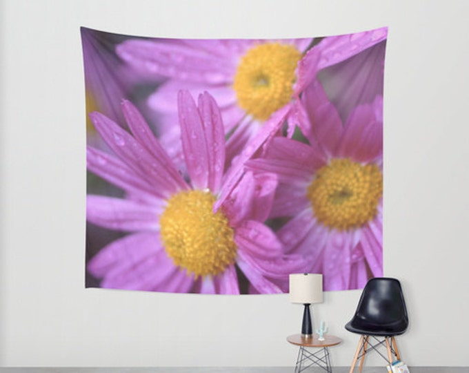 Flowers - Hanging Tapestry - Wall Tapestry - Purple Flowers- Large Wall Photograph - Home Decor - Made to Order