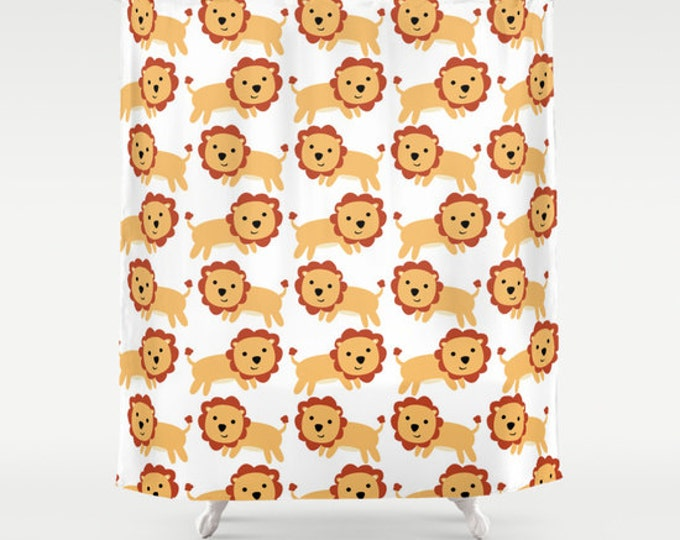Lion Art Shower Curtain - Lots of LIons - Nursery Art - Bathroom Decor - Made to Order
