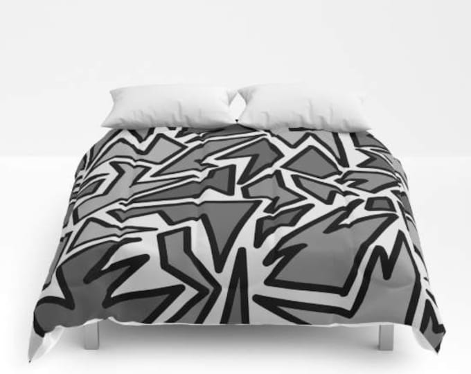 Comforter - Zig Zag Print - Bed Cover - Bedding - King - Queen - Full - Made to Order