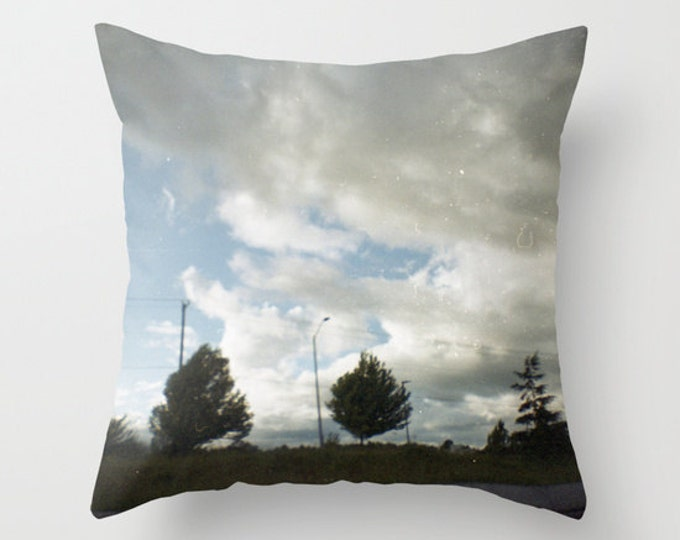 Pillow - Landscape Photograph - Throw Pillow Cover Includes Pillow Insert - Clouds and Trees - Made to Order