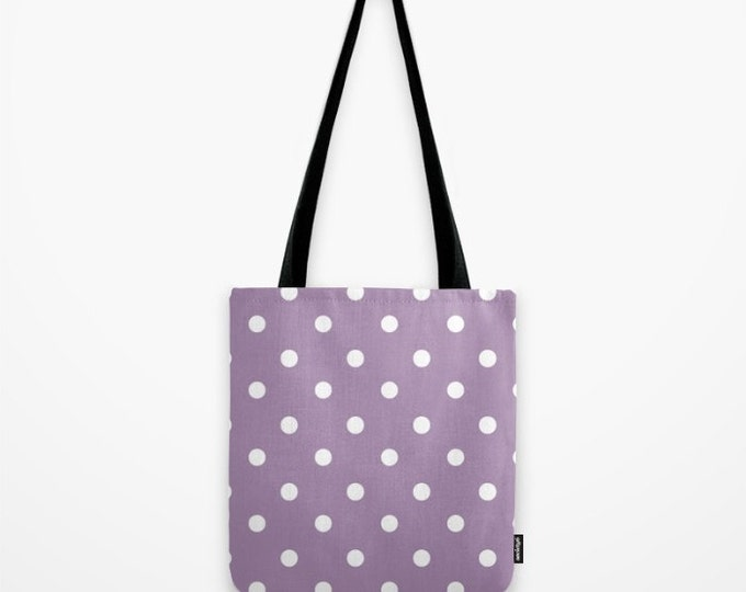 Purple Polka Dot Tote Bag - Grocery Bag - Beach Bag - Book Bag - Purple with Polka Dots - Made to Order