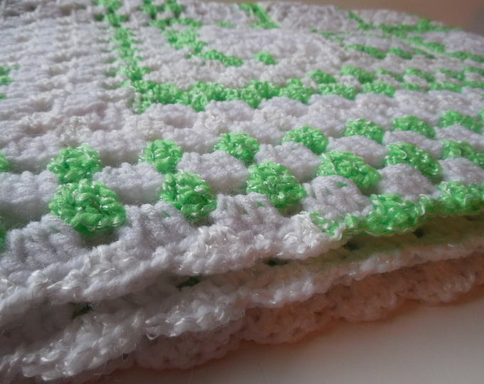 Baby Afghan or Lapghan - White with Green and Green and White Variegated - Handmade Crochet - Ready to Ship