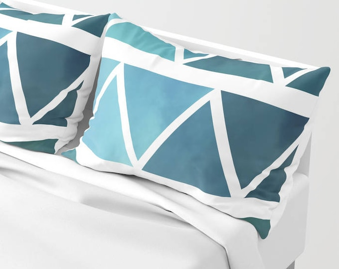 Pillowcases - Pillow Shams - Blue Modern Art - Blue and White - Original Art - Made to Order