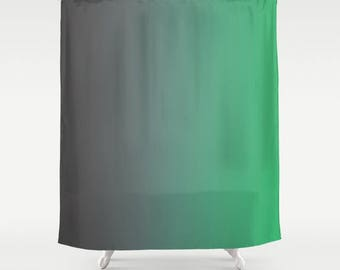 Gray To Green Ombre Shower Curtain