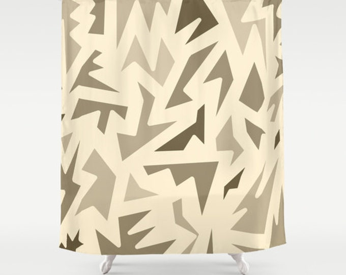 Brown Shower Curtain - Abstract Design Brown Zig Zag - Bathroom Decor - Made to Order