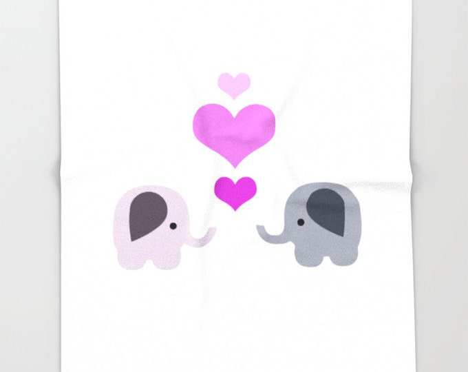 Fleece Elephant Blanket  - Elephant Kisses Bedding - Elephants and Hearts - Child's Fleece Throw Blanket - Made to Order
