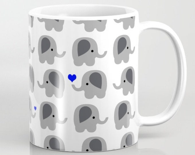 Elephant with Hearts Coffee Mug  - Blue Hearts - Coffee Cup - Elephant Coffee Mug - 11oz - 15oz - Ceramic - Made to Order
