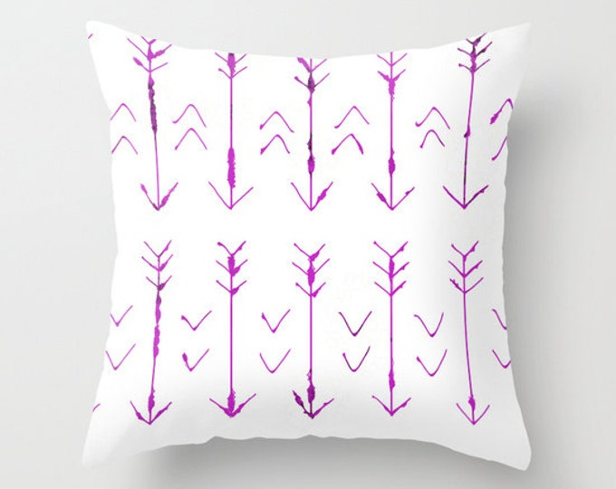 Purple Arrow Pillow -  Pillow Cover Includes Pillow Insert - Purple White Arrow Pillow - Sofa Pillow Cover- Decorative Pillow- Made to Order